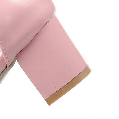 AgooLar Femme Ouverture Petite à Talon Correct Verni Couleur Unie Boucle Sandales Rose