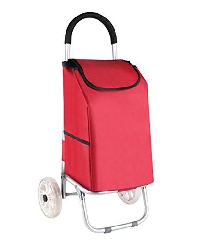 GAYY Zwei-Rad-Falten Warenkorb, wasserdichte Isolierung Einkaufstasche Alloy Cart Save Lebensmittel mit Rad-Lager,Rot Rollator Mit Tablett Tisch
