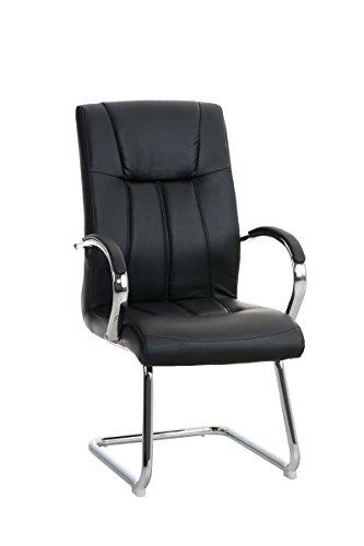CLP eleganter Besucher-Stuhl BASEL mit Armlehne, gut gepolsterte Sitzfläche, schöne Optik, in bis zu 5 Farben schwarz