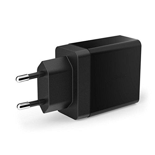 2 Port Wall (kingko USB C Adapter auf Micro 3.4A 2 Ports USB Wall Socket Intelligent Ladegerät EU Stecker (Schwarz))
