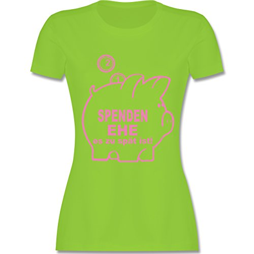 JGA Junggesellinnenabschied - Spenden Ehe - tailliertes Premium T-Shirt mit Rundhalsausschnitt für Damen Hellgrün
