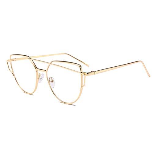 JZFUKSP Fashion Clear Glasses UV-Schutz Metallrahmen Brillen Anti Blue Light für Männer Frauen,Gold