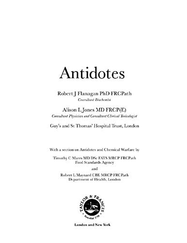 Descargar PDF Antidotes: Principles and Clinical Applications