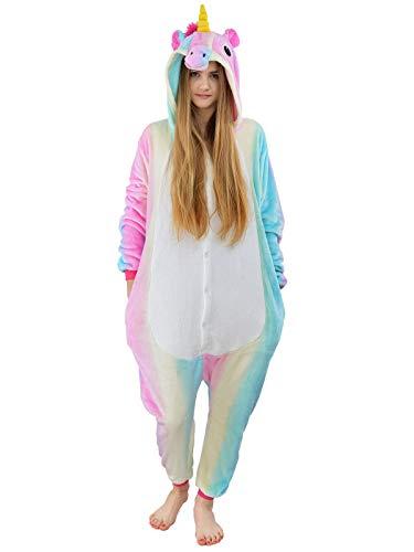 Damen Fleece Einteiler Nachtwäsche Pyjama Kostüm mit Kapuze Einhorn Gr. - Weißen Overall Kostüm