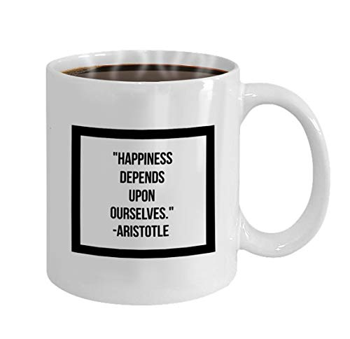 oween Party Gift Coffee Mug Tea happiness depends ourselves inspirational quote mot ()