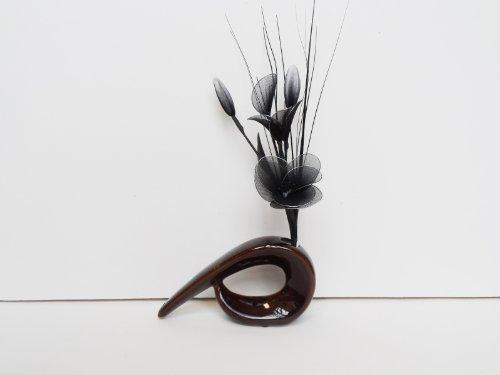 Homestreet flowers nero gossamer nylon composizione floreale in un vaso virgola-fiori artificiali brown