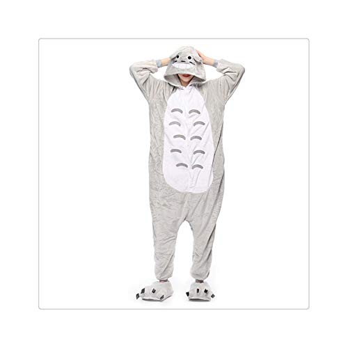 s Pajamas Sets Flannel Animal Cartoon Sleepwear Stitch Pyjamas for Women Adult Halloween Hooded Pajamas Totoro XL ()