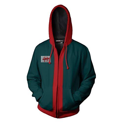 MWbetsy Spiderman Hoodie 3D Comics Hoody Langarm Cosplay Sweatshirt Outdoor Sport Reißverschluss Jacke Top Größe Unisex Kostüme,Grün,L