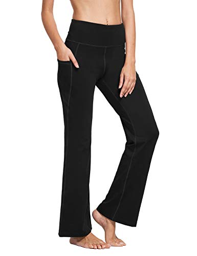 BALEAF Damen Bootcut Yoga Hose mit Seitentasche Hoch Teile Flare Yogahose Sporthose
