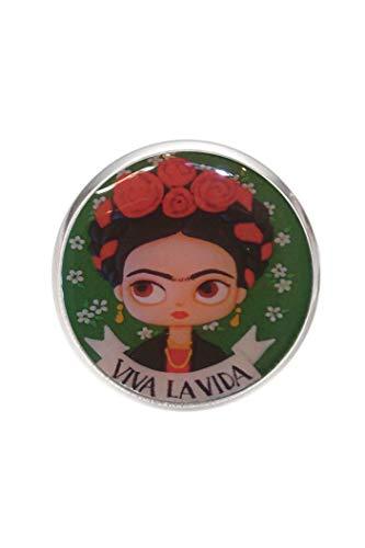 Broche de Acero, Diametro 25mm, pin 0,7mm, Hecho a Mano Ilustración Frida Viva la Vida