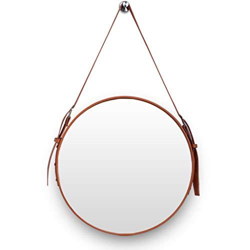 Europäischer moderner kreisförmiger Wandspiegel mit hängendem Bügel und Lederrahmen 50CM (20 Zoll) Durchmesser Dekorativer Spiegel/Schminkspiegel für Halle/Bad (20 Zoll Bad-spiegel)