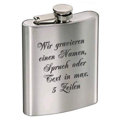 Flachmann aus Edelstahl mit kostenloser Gravur   Individuelles Geschenk zum Geburtstag, Hochzeit oder Junggesellenabschied