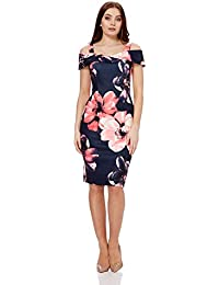 53c827aee092 Roman Originals Women Floral Cold Shoulder Scuba Dress - Ladies Evening  Special Occasion Party Formal Evening Wedding Guest Mother of…