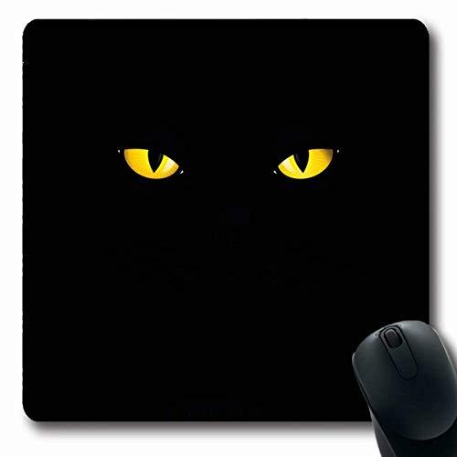 Luancrop Mousepads Make-up Katzenartige Schwarze Katze gelbe Augen Nahaufnahme der wild lebenden Tiere See Adorable Attack Bright Design Predator rutschfeste Gaming-Mausunterlage Rubber Oblong Mat - See Tier