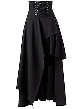 tianxinxishop para Mujer Lolita Vintage Gotico del Vendaje De La Falda Maxi Falda de Dobladillo Irregular, Negro...