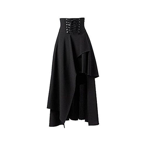 tianxinxishop Para Mujer Lolita Vintage Gotico Del Vendaje De La Falda Maxi Falda de dobladillo irregular, Negro/Vino tinto