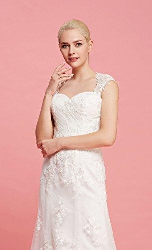Brautkleid mit herzförmigen Ausschnitt und Träger aus transparentem Stoff und Spitze - 5