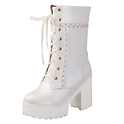 Watopi Damen Krawatte Schuhe High Heel Schuhe Stiefeletten Schnürstiefeletten Sweet Lady Platform High Heel Stiefel