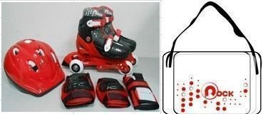 PATTINI ROLLER 27/29 BOY RED ZAINETTO,CASCO,PROTEZIONI ITN GW069HB01G1 (bag,helmet,protections)