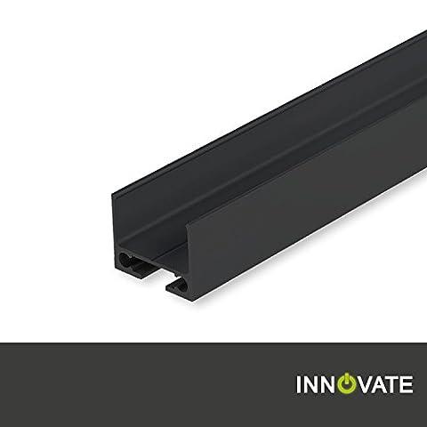 Kabelschleuse TUNNEL für Aluminium Profile Schiene Leiste, pulverbeschichtet schwarz, 200 cm