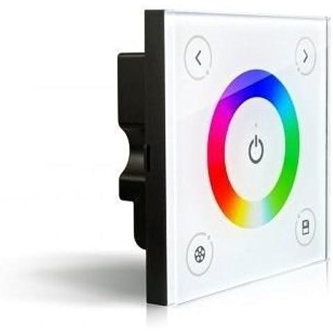 KingLed - Controller Touch per Strip Led RGB, Commandi Full Touch, Installazione da Muro, Corrente 12V 24V 8 Amper con Cestino da Parete Cod.