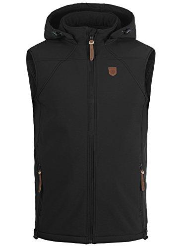 INDICODE Romeo Herren Softshell Weste mit Kapuze und integriertem Fleece-Material, Größe:M, Farbe:Black (999) (Kapuzen-fleece-weste)