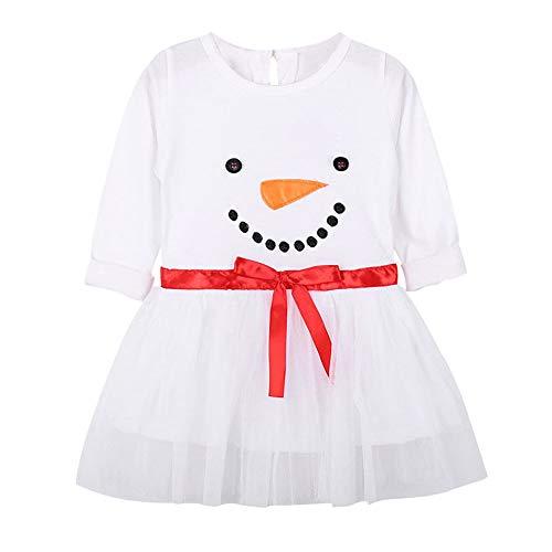 K-youth Vestido para Niñas, Vestido De Niña Manga Larga Estampado De Muñeco De Nieve Bebé Niña Ropa De Navidad Tutú Princesa Vestido Infantil Bautizo Ceremonia Niña Cumpleaños(Blanco, 3-4 años)