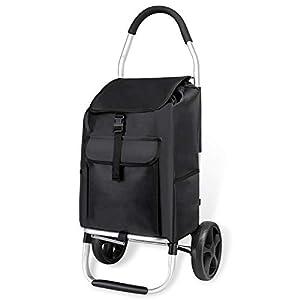 mfavour Stabiler Einkaufstrolley, Einkaufsroller klappbar Schieben/Ziehen, Einkaufswagen 2 räder mit Abnehmbarer Oxford-Tasche, 45 kg, 45 l, schwarz