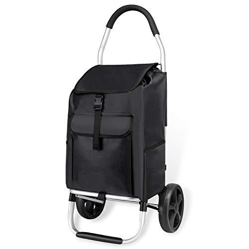 mfavour Stabiler Einkaufstrolley, Einkaufsroller klappbar Schieben/Ziehen, Einkaufswagen 2 räder mit Abnehmbarer Oxford-Tasche, 45 kg, 45 l, schwarz - X-large-tasche