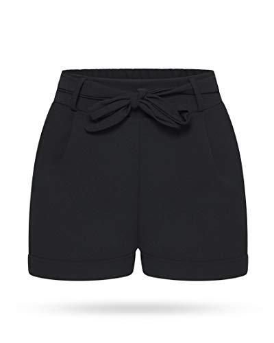 Kendindza Damen Sommer Shorts | Kurze Hose mit Schleife zum binden | Bermuda | Uni-Farben (L/XL, Schwarz) - Damen Schwarz Nadelstreifen