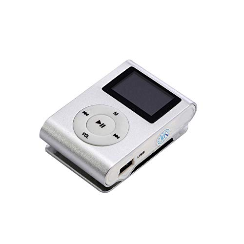 Nordira MP3 Player, Clip-on-Mini-USB-LCD-Bildschirm MP3-Micro-SD-TF-Karte FM-Radio Sport-Musik-Player Silber - Clip-on-mp3-player
