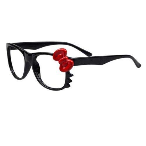 Hello Kitty Vintage Klassiker Nerd Geek schwarz Brillengestell mit Schleife 6 farben Ohne linse (Schwarz+rote (Kitty Hello Nerd)