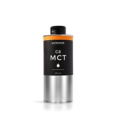 Proteinclub C8MCT Oil, • 100% Coconut Oil • C8Caprylic Acid • Ketogene Energy, Bulletproof Coffee •–• Vegan–Low Carb & Ketogene Diet •, Made in Germany •, 500ml by proteinclub