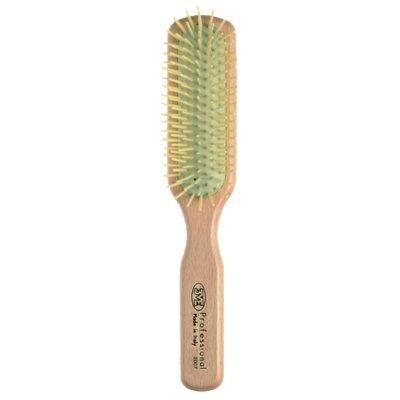 3 vE premiere 2007 - Brosse pour Cheveux à tête rectangulaire avec manche en bois de hêtre, animella en pics de baleine