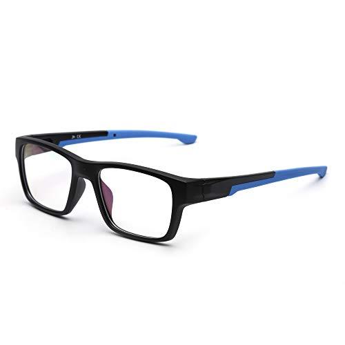 JM Rechteckig Nicht-Rezept Brillen Rahmen Klassisch RX-fähig Gläser Damen Herren Schwarzer Rahmen Blauer ()