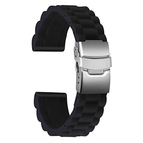 Ullchro Correa Reloj Calidad Alta Recambios Correa Relojes Caucho Link Pattern - 16mm, 18mm, 20mm, 22mm, 24mm Silicona Correa Reloj con Acero Inoxidable Hebilla desplegable (24mm, Negro)