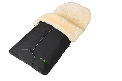 Fellhof Lammfell-Fußsack Cortina, OEKO-TEX® Standard 100 zertifiziert, 45x97 cm, wind- und wasserdicht, waschbar bis 30°C, Öffnung am Fußende (schwarz)