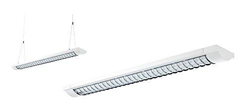 Certeo Deckenleuchte–Chrom Einsatz Länge 1550mm mit einem Gitter, 2x 58Watt Arbeitsplatz Lampen Deckenleuchte Lampe Deckenleuchte Lampe Deckenleuchte Lampe Deckenleuchte Pendelleuchten der Pendelleuchte Pendelleuchte Pendelleuchte leicht universal Lampe Lampen