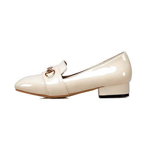 Voguezone009 Mujer Pure Pig Leather Tacón Bajo Con Punta Redonda Pull-ballet-flats Beige
