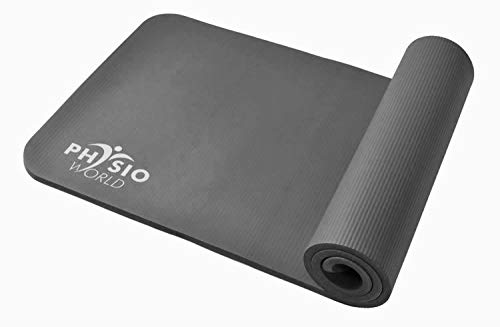 PhysioWorld - Ejercicio Mat - 10 mm/15 mm Pilates, Fitness y Gimnasio en casa, Unisex, Exercise, Gris