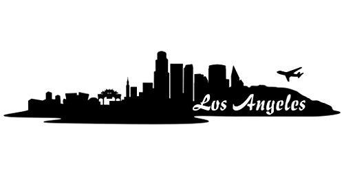 Samunshi® Wandtattoo Los Angeles Skyline Wandaufkleber schwarz 30x6,5cm