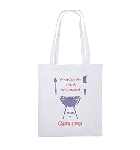 Comedy Bags - Vertraue nie einem schlanken Griller - Jutebeutel - lange Henkel - 38x42cm - Farbe: Schwarz / Weiss-Neongrün Weiss / Rosa-Violet