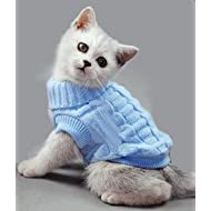 Blue Plain Knitted Cat Kitten Pet Jumper Sweater Knitwear – 6 Sizes