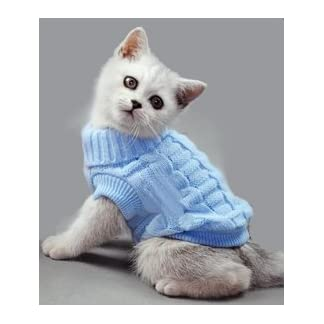 Doggie Style Store Blue Plain Knitted Cat Kitten Pet Jumper Sweater Knitwear – 6 Sizes 31Tcfzg8BsL
