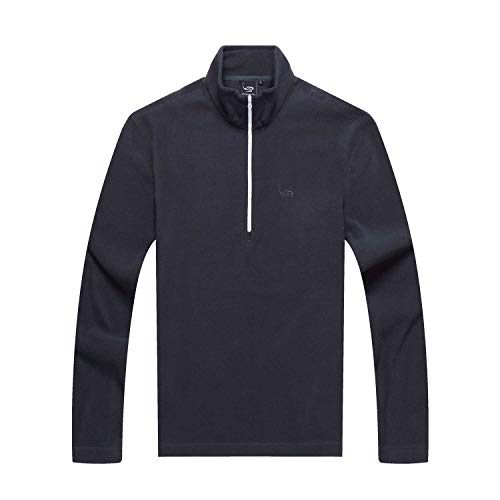EAGEGOF Herren Half Zip Neck Pullover Fleece Polyester Langarm Pullover Herbst Winter Winddicht Warm Tops Slimfit Outwear Sweatshirt Polo Shirt Herren Jacke Light Ultralight Geeignet für Sport
