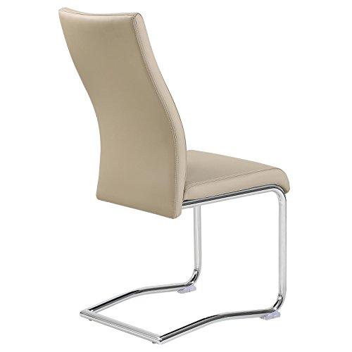 4er Set Esszimmerstuhl Küchenstuhl Schwingstuhl LOANO beige / braun - 3
