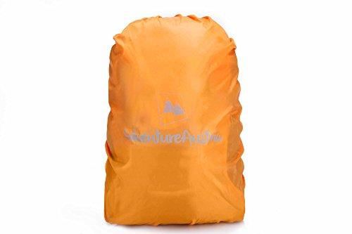 Rucksack Regenschutz von AdventureAustria - Rucksackhülle für Wandern Radfahren Camping usw. Elastisch verstellbar & reflektierend. Passend für die meisten Rucksäcke. (Orange, Klein 15-35L) (Voll Kordelzug Elastischer)