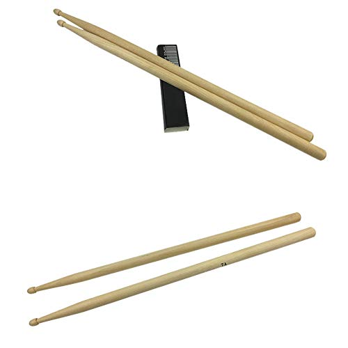 AchidistviQ 1 Pair Lightweight 5 a 7 a Maple Wood Drum Sticks Bacchette Music Accessory Part, marrone, 5A