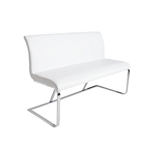 Elegante Design Sitzbank HAMPTON weiß 130cm mit Rückenlehne Bank -