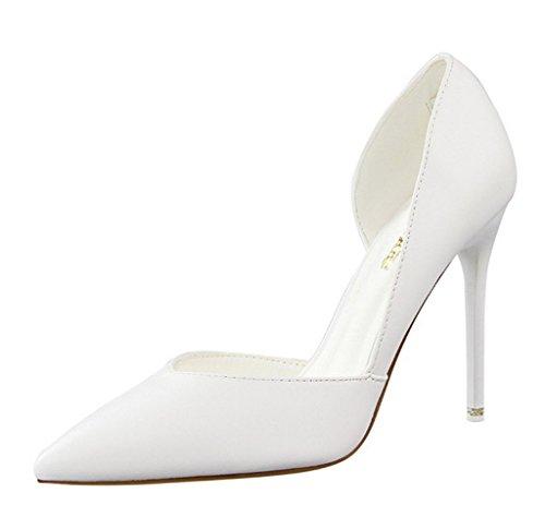 Minetom Donna Scarpe Col Tacco Stiletto Scamosciato Semplice Pump Shoes Elegante Partito Di Sera Sandali Scarpe Bianco